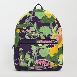 Floral Inspirational Quote Illustrated Print Backpack