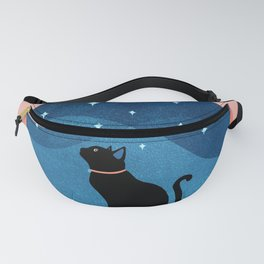 Abstraction_CAT_NIGHT_SKY_STARS_Minimalism_001 Fanny Pack