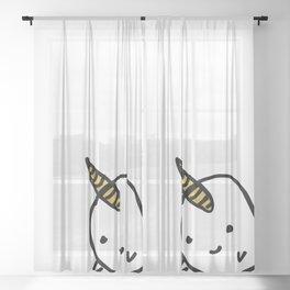 BIG GOLD BUDDY NARWHAL Sheer Curtain