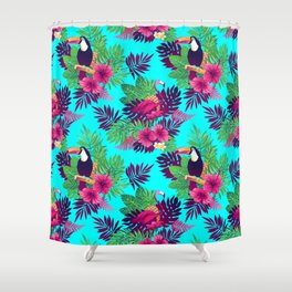 Toucan & Flamingo Pattern Shower Curtain