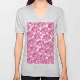 Modern hot pink watercolor hand painted floral pattern Unisex V-Neck