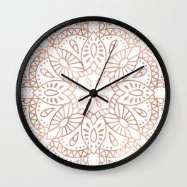 Mandala Rose Gold Pink Shimmer by Nature Magick Wall Clock