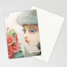 Pensees et roses tremieres Stationery Cards