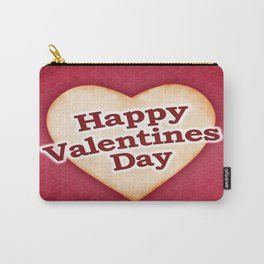 Heart Shaped Happy Valentine Day Text Design Carry-All Pouch