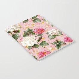 Vintage green pink white bohemian hortensia flowers Notebook