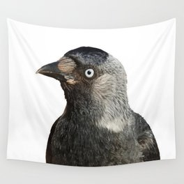 Jackdaw (Corvus monedula) Bird Portrait Vector Wall Tapestry