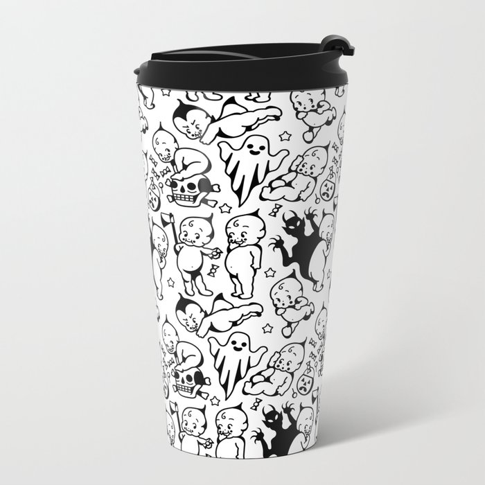 Classic Kewpie Pattern Metal Travel Mug