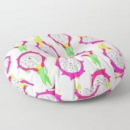 Dragonfruit Slices in Dotty White Floor Pillow