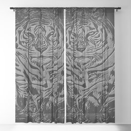Big Cat Models: White Tiger Emboss 01-01 Sheer Curtain