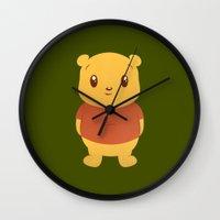 winnie the pooh Wall Clocks featuring Cute Winnie the Pooh Bear by geraldbrio