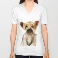 yorkie V-neck T-shirts featuring Yorkie Puppy on White  by barefoot art online
