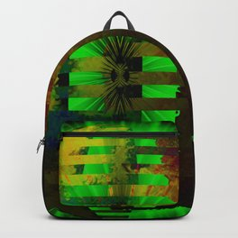 Yellow Layered Star in Green Flames Backpack