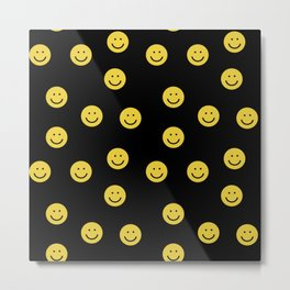 Happy Face - smiley, smiles, happy, emoji, cute, 90s, happy face Metal Print