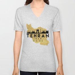 TEHRAN IRAN SILHOUETTE SKYLINE MAP ART Unisex V-Neck