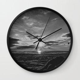 Sunset North Sea Denmark Bjerregard Beach bw Wall Clock