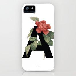 Floral Alphabet Prints: Letter A iPhone Case