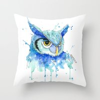 hedwig Throw Pillows featuring Color Hedwig  by Simona Borstnar