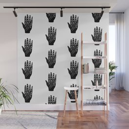 Linocut Hand palm reading minimal black and white palmistry fortune teller Wall Mural