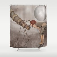 valentina Shower Curtains featuring valentina e l'improbabile telescopio by Mesailes by Germana Picchioni