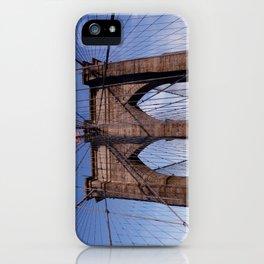 Brooklyn Bridge, the American flag and blue skies iPhone Case