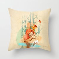 ariana grande Throw Pillows featuring Lonely by Ariana Perez