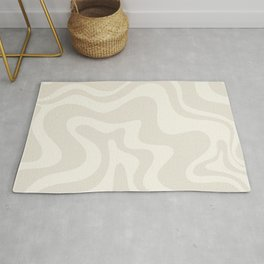 Liquid Swirl Contemporary Abstract Pattern in Barely-There Pale Beige and Light Cream  Rug