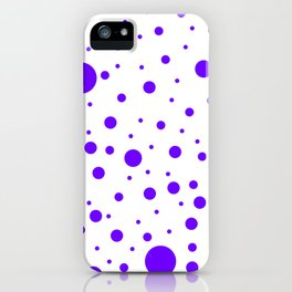 Mixed Polka Dots - Indigo Violet on White iPhone Case