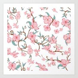 Creepy Flowers Pattern Art Print