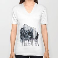 cara delevingne V-neck T-shirts featuring Cara Delevingne by Asquared2Art
