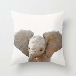 Baby Elephant, Baby Animals Art Prints by Synplus Throw Pillow
