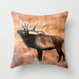 North American Elk Acrylics On Paper  Throw Pillow