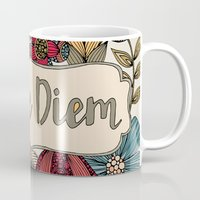 carpe diem Mugs featuring Carpe Diem by Valentina Harper