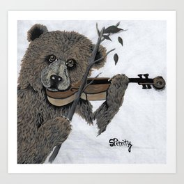Violin Bear Art Print
