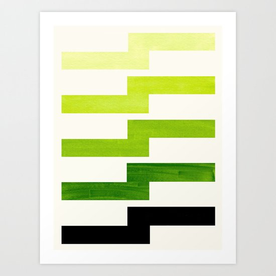 Minimalist Mid Century Modern Sap Green Watercolor Painting Lightning Bolt Zig Zag Pattern With Blac by enshape