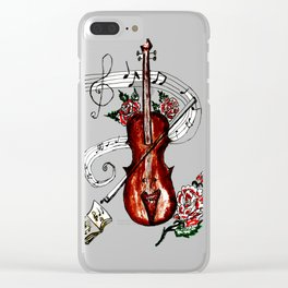 Brown Violin with Notes Clear iPhone Case