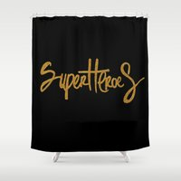 superheroes Shower Curtains featuring Superheroes by Indah Irawan