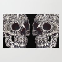 ornate elephant Area & Throw Rugs featuring Ornate Skull by BIOWORKZ