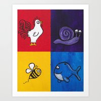 Cute little high animals Art Print