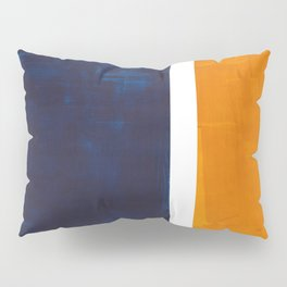 Navy Blue Yellow Ochre Abstract Minimalist Rothko Colorful Mid Century Color Block Pattern Pillow Sham