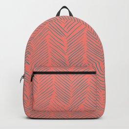 Living Coral Herringbone Gray Backpack