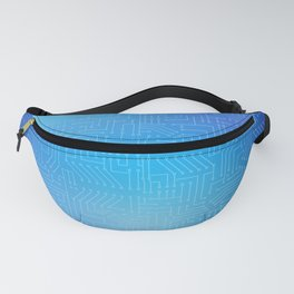 Circuit board on blue gradient background Fanny Pack