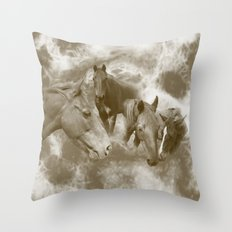 Horses in the mist 2 Throw Pillow