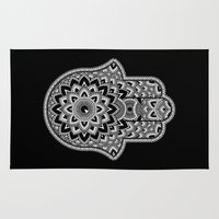 hamsa Area & Throw Rugs featuring Hamsa by Black Sheep