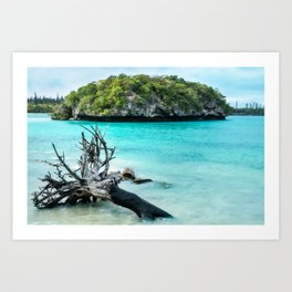 Small island at Kanumera Bay on the Isle of Pines, New Caledonia. Art Print