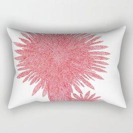Quatre flors vermelles circulars amb puntes Rectangular Pillow