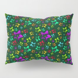 Pattern of cheerful children's shimmering stars on a green background. Pillow Sham