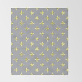 Ornamental Pattern with Grey and Lemon Yellow Colourway Throw Blanket