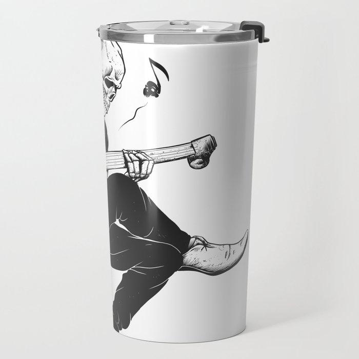 Minstrel playing guitar,grim reaper musician cartoon,gothic skull,medieval skeleton,death poet illus Travel Mug