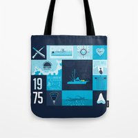 jaws Tote Bags featuring Jaws! by tim weakland