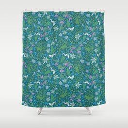 Edelweiss flowers with hellebore and snowdrops on blue background Shower Curtain
